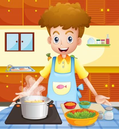 chef cocinando: Ilustración de una cocina con un hombre cocinar Vectores