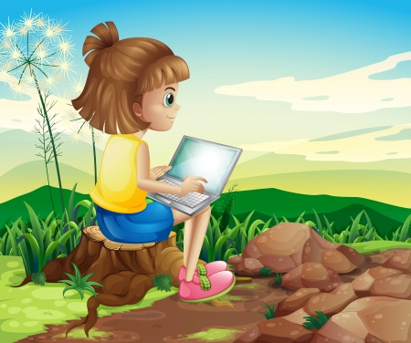 computer cartoon: Illustration of a girl surfing the net while sitting above a stump
