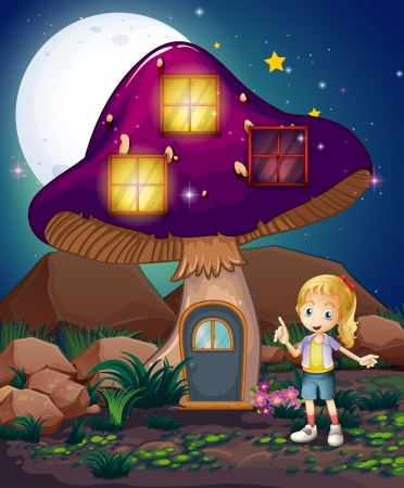 Illustration of a cute girl standing beside the magical mushroom house Stock Vector - 21425822