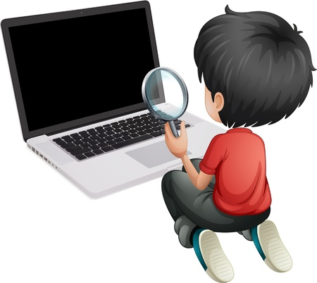 Illustration of a boy in front of a laptop holding a magnifying lens on a white background Illustration