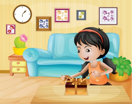 tied girl: Illustration of a lady opening her gift in the living room