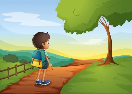 バックパック: 袋を運んでいる間歩く男の子のイラスト