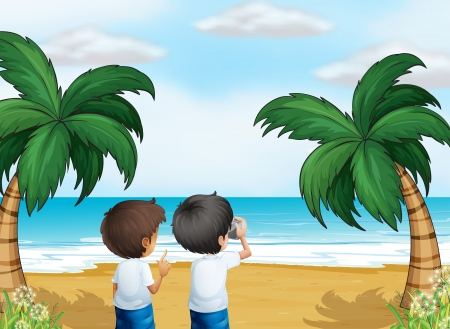 Illustration of the two photographers at the beach Vector