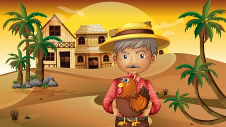 swingdoor: Illustration of an old man and his rooster at the desert