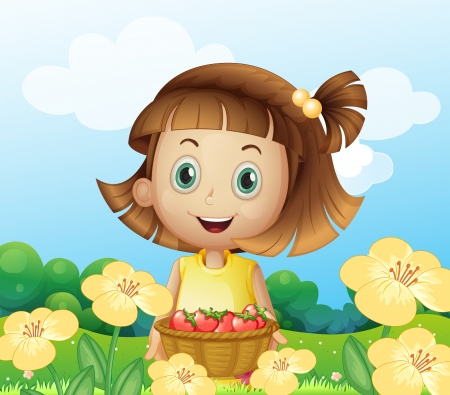 Illustration of a girl holding a basket of fruits Vector