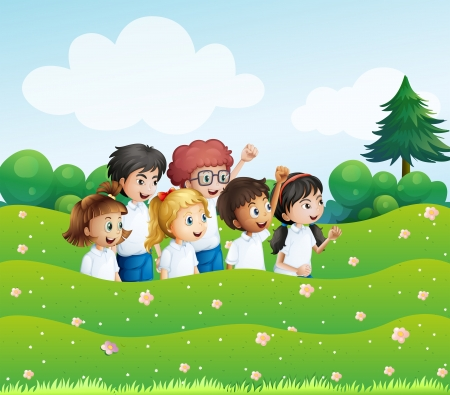 surrounding: Illustration of the six playful kids at the hill