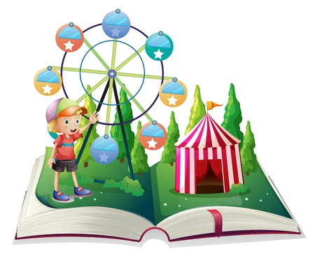 Illustration of an open storybook with a carnival and a young boy on a white background Stock Vector - 21425837
