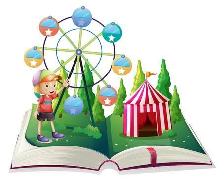 libro de cuentos: Ilustraci�n de un libro de cuentos abierto con un carnaval y un ni�o sobre un fondo blanco Vectores