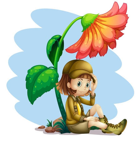 in the shade: Illustration of an adventurer under the shade of a flower on a white background
