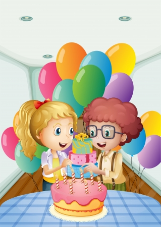 Illustration of a birthday party inside the house Vector