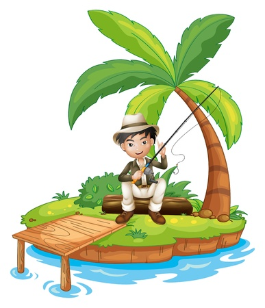 rope bridge: Illustration of a man fishing in the island on a white background Illustration