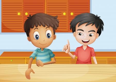 niños platicando: Ilustración de los dos hombres en el interior de la cocina