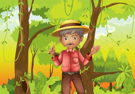 old man standing: Illustration of an old man standing in the middle of the forest Illustration
