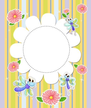 Illustration of a stationery template with flowers and butterflies Vector