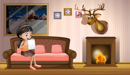 fire place: Illustration of a girl studying inside the house near the fireplace