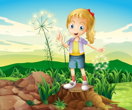 Illustration of a stump with a young girl standing Vector