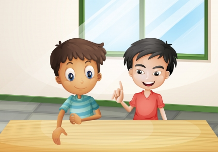breakable: Illustration of the two boys near the wooden table