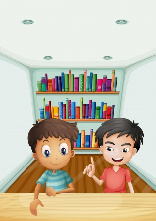 Illustration of the two boys in front of the bookshelves with books Stock Vector - 21425859
