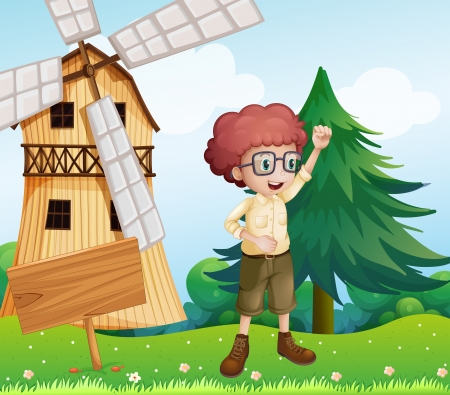 Illustration of a happy boy near the wooden signboard and the windmill Vector