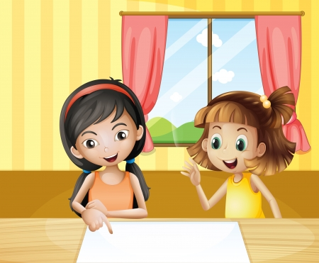 Illustration of the two kids inside the house watching the empty signage Vector