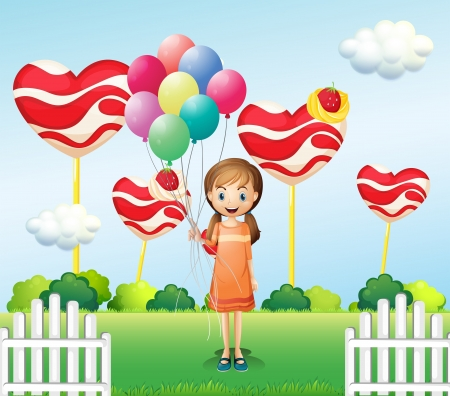 Illustration of a girl in the candyland with eight balloons Vector