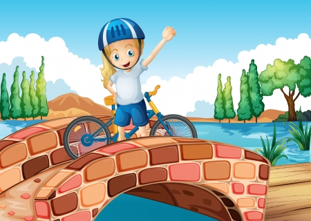 Illustration of a female biker standing above the bridge Vector