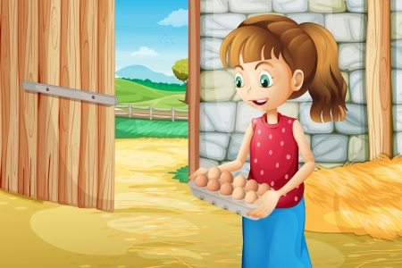 Illustration of a girl holding an eggtray inside the barnhouse