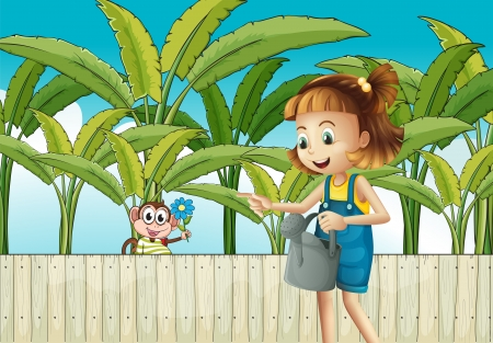 Illustration of a girl holding a sprinkler near the wooden fence Vector