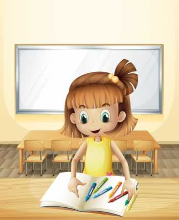 Illustration of a girl inside the classroom with her books and crayons Vector