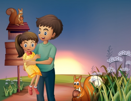 hilltop: Illustration of a father carrying his daughter at the hilltop