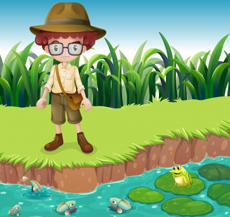 children pond: Illustration of a serious looking boy at the riverbank