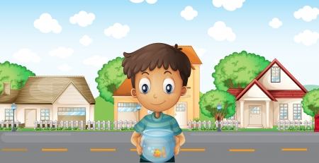 across: Illustration of a boy with an aquarium standing across the neighborhood