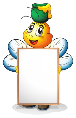 Illustration of a whiteboard with a honeybee at the back on a white background Illustration