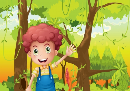 Illustration of a young man waving his hand in the middle of the forest Vector