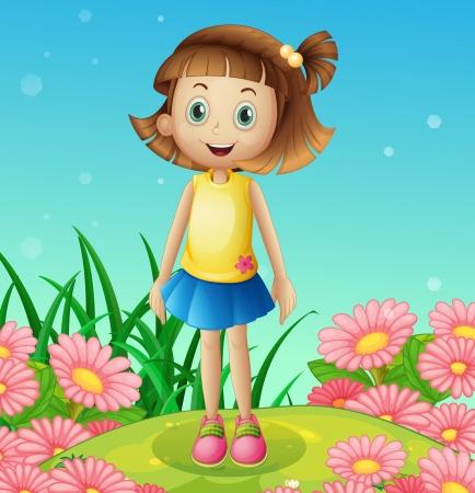 Ilustración de una niña linda en la cima de una colina rodeada de flores