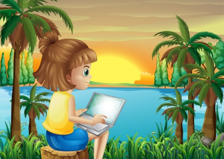 girl laptop: Illustration of a girl using her laptop near the river Illustration