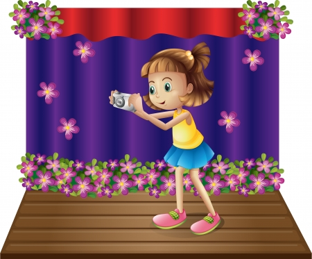 centerstage: Illustration of a stage with a young girl holding a camera on a white background