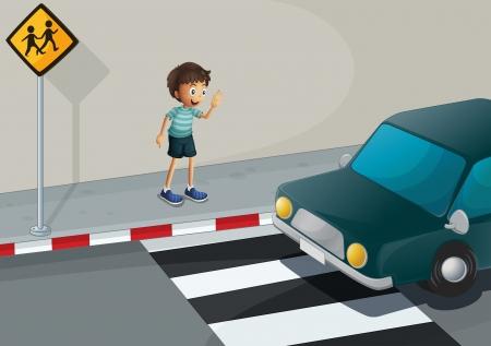 Illustration of a boy waving at the car Stock Vector - 21426123