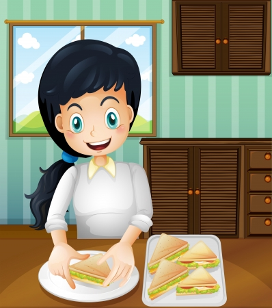 Illustration of a lady preparing sandwiches Vector
