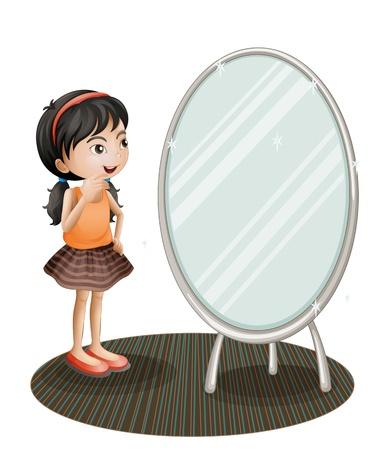 spiegelbeeld: Illustratie van een meisje met de spiegel op een witte achtergrond Stock Illustratie