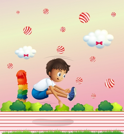Illustration of a boy exercising in the candyland Stock Vector - 21426186