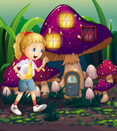 elongated: Illustration of a young girl at the enchanted mushroom house Illustration