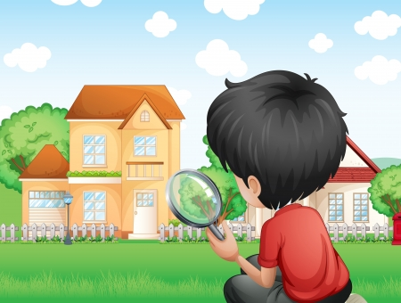 Illustration of a boy with a magnifying glass studying the grasses Vector
