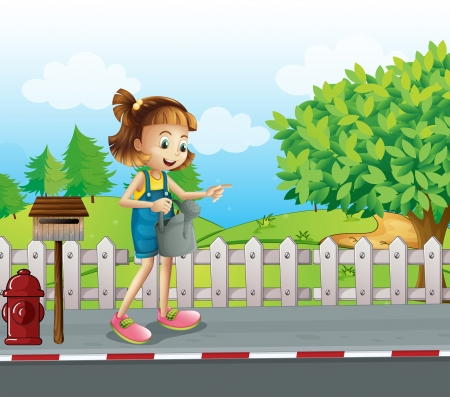 Illustration of a girl walking in the street with a sprinkler Vector