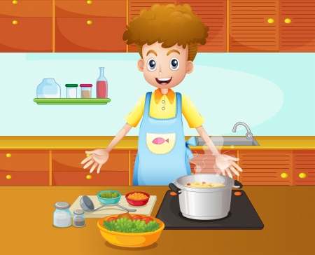 boiling pot: Illustration of a male chef cooking in the kitchen Illustration