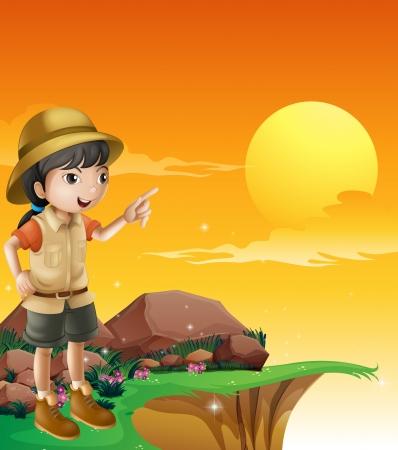 explorer: Illustration of a female explorer standing near the cliff Illustration