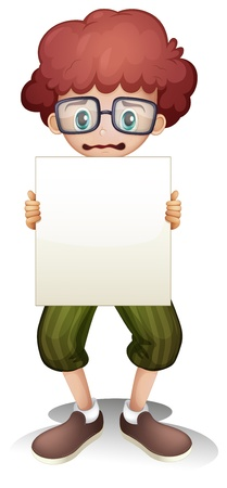 Illustration of a sad boy holding an empty signage on a white background Stock Vector - 21420129