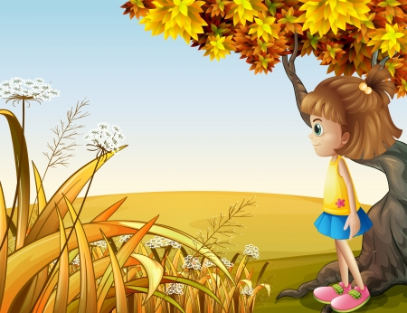 Illustration of a girl beside the giant old tree Vector