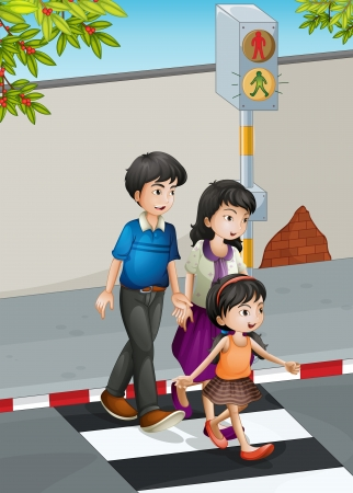lane: Illustration of a family crossing the street