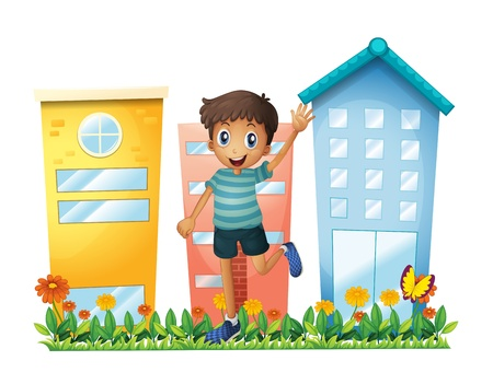 Illustration of a boy waving in front of the high buildings on a white background Vector